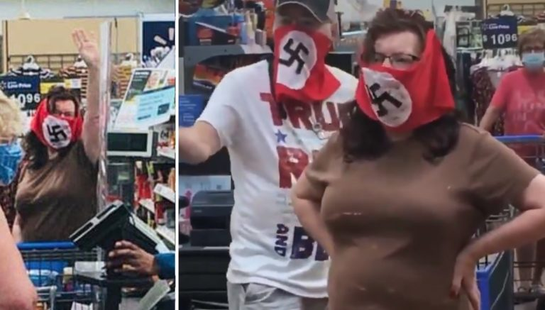 MN Couple Sport Swastika Masks In Wal-Mart