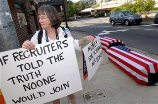 anti-recruitment protester