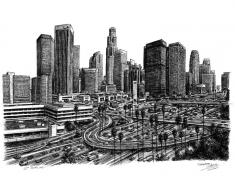 LA skyline by Stephen Wiltshire