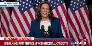 Kamala Harris Takes The Fight Directly To Trump And Pence In Her First Speech As VP Candidate